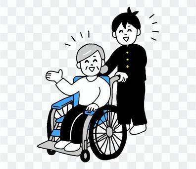 輪椅高級男女學生(簡單)