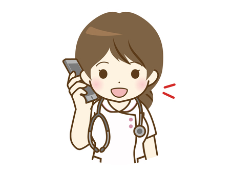 Young female nurse talking on the phone