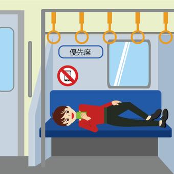 一個男人躺在火車的座位上