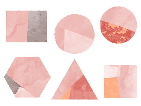 設置與水彩粉紅色的對象