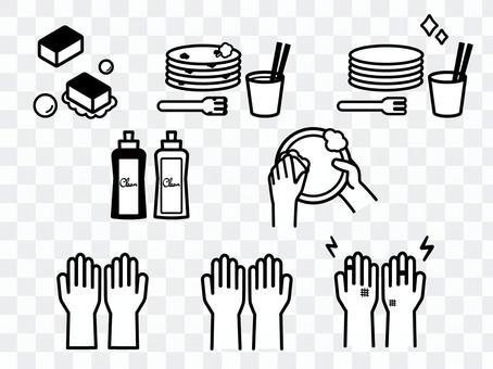 插圖集洗碗單色