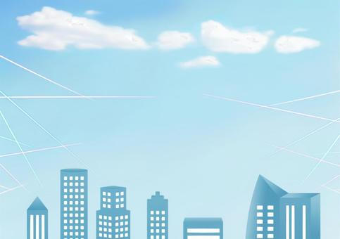 Office building frame · blue sky sideways