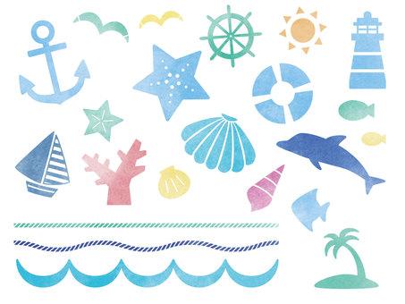 水彩海洋材料套裝