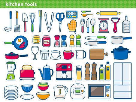 Kitchen utensils illustration set