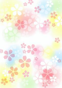 桜とほわほわカラフル背景