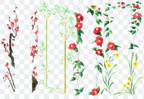 框架樣式李子,竹子,山茶花,水仙花