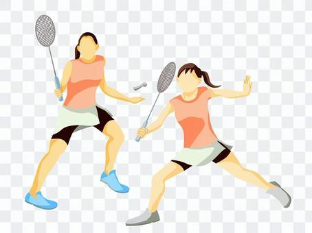 羽毛球、雙打運動員