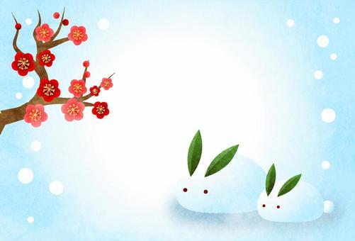 紅梅と雪うさぎの寒中見舞いハガキヨコ