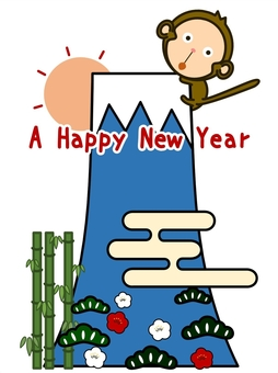 New Year's card material-Mt. Fuji and monkeys
