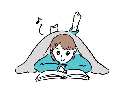 在蒲團看書的女孩