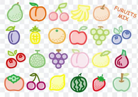水果手繪蠟筆顏色