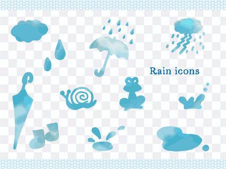 水彩雨圖標集