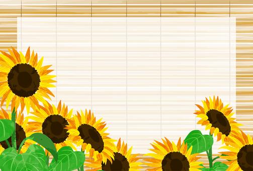 向日葵和竹盲夏季問候明信片水平