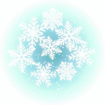 雪の結晶のほわほわイメージ青