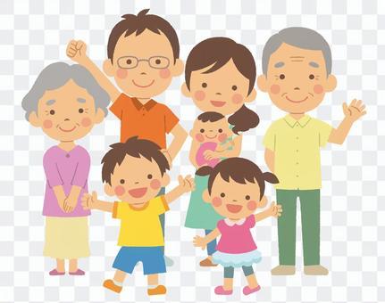 3代7人家庭全身夏装