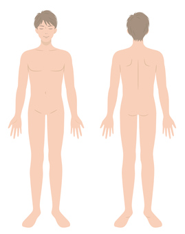 Naked front and back of men