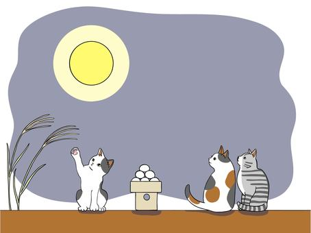 Cats watching the moon at the 15th night Vector