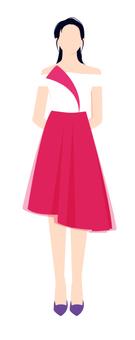 白色和粉紅色的連衣裙的女人