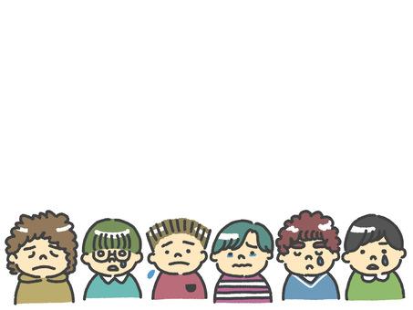 Frame of sad boys / many children