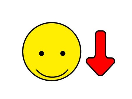 向下箭頭微笑