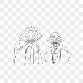 拍攝前的和服插圖
