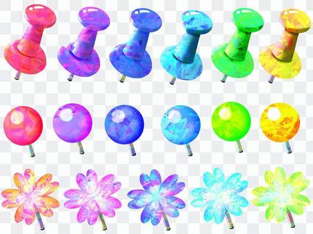 Colorful thumbtack set