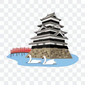 松本城堡紅色橋樑和天鵝