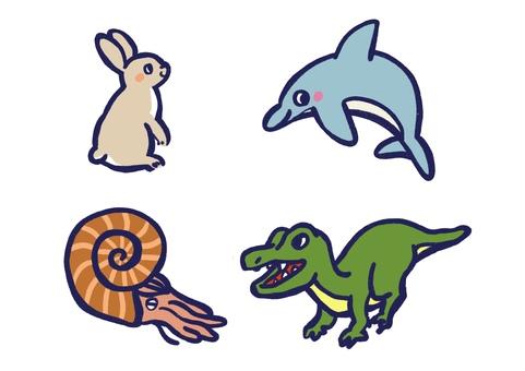 Illustration cut set of 4th kind animals ④