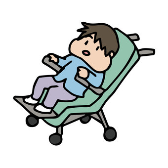A child with lymphangioma in a buggy wheelchair