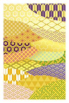 日本圖案拼貼金明信片尺寸