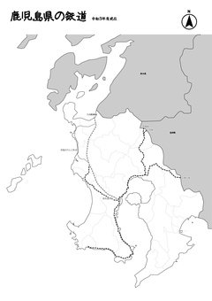 鹿兒島縣鐵道日本地圖黑白