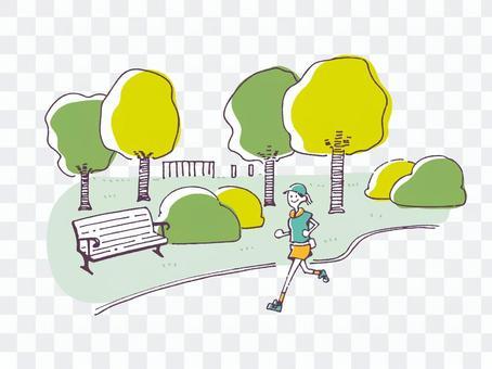慢跑在公園裡的女人