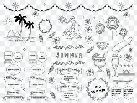 夏のイメージとフレームのセット