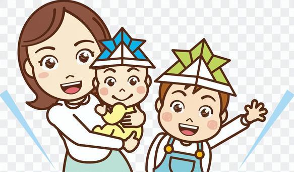 媽媽抱著嬰兒和男孩