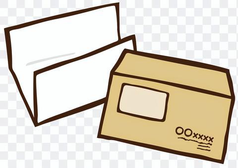 郵寄文件(帶有窗口和文件的信封)