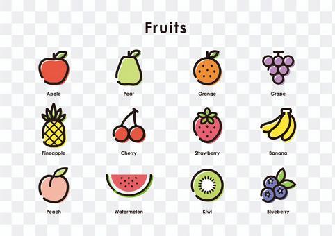 水果圖標集(顏色)