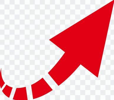 箭頭_向右斜右上_紅色