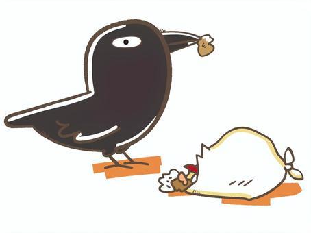 釣魚垃圾的烏鴉的例證