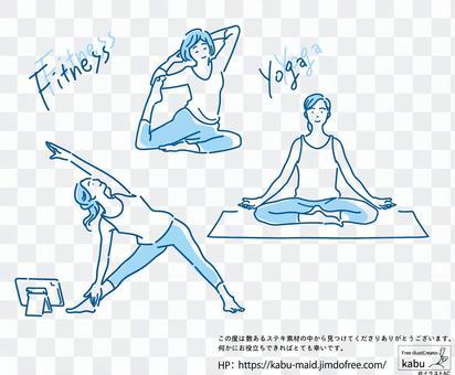 一個女人在做瑜伽的插圖