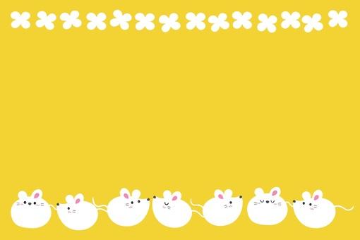 圓形鼠標框/白色,芥末色,小花