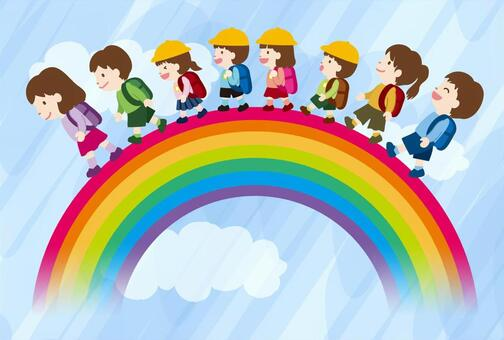 Primary school student and rainbow