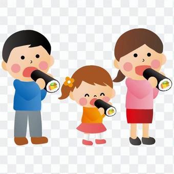 Families eating Ehomaki