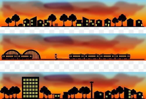 城市景觀線輪廓日出