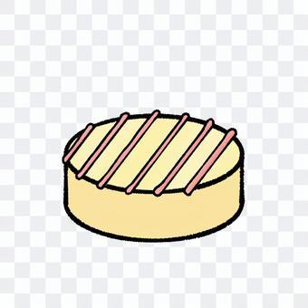 円形のホワイトチョコ(輪郭線あり)