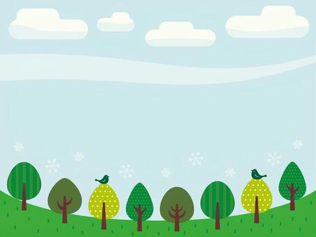 Illustrations of trees and blue sky