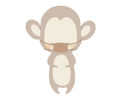 No monkey illustration line to bow with a mask