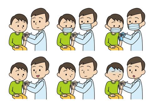 接受肌肉注射、疫苗和疫苗接種的男孩