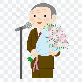 老將男人誰講話一邊拿著花束