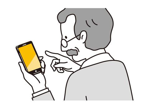 Senior man touching a smartphone