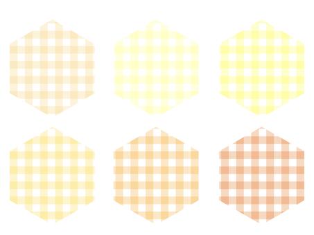 方格格子六邊形套裝:黃色